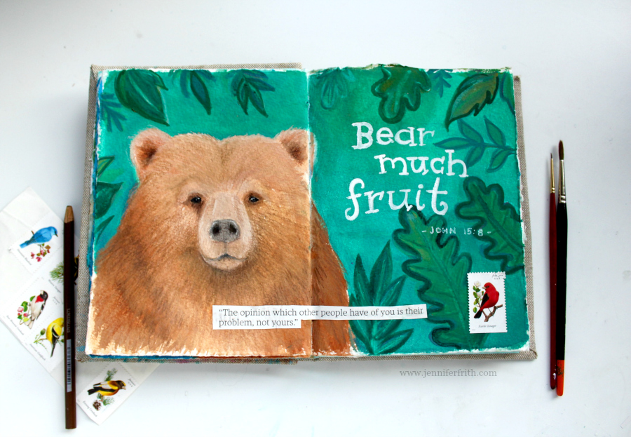 illustrated sketchbook with Bible verses, by Jennifer Frith