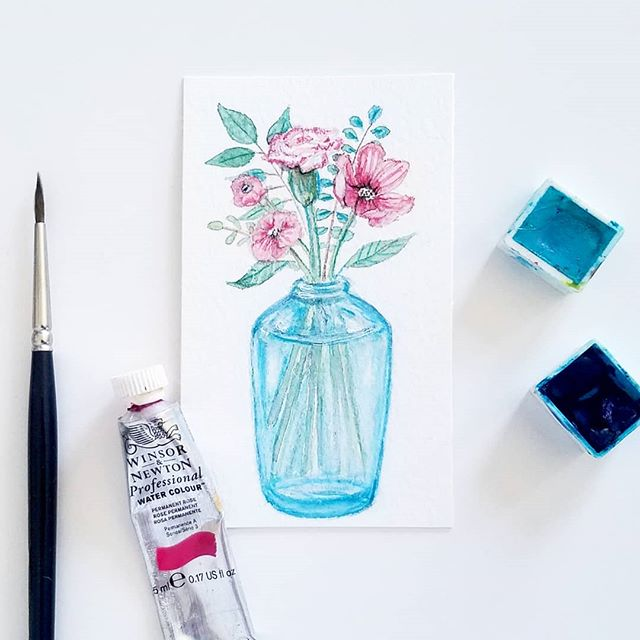 watercolor thinking-of-you illustration 🌺 . . . . .  #encouragement #illustrators #pickmeups #pickmeupprints #watercolor #floralillustration #tinyillustration