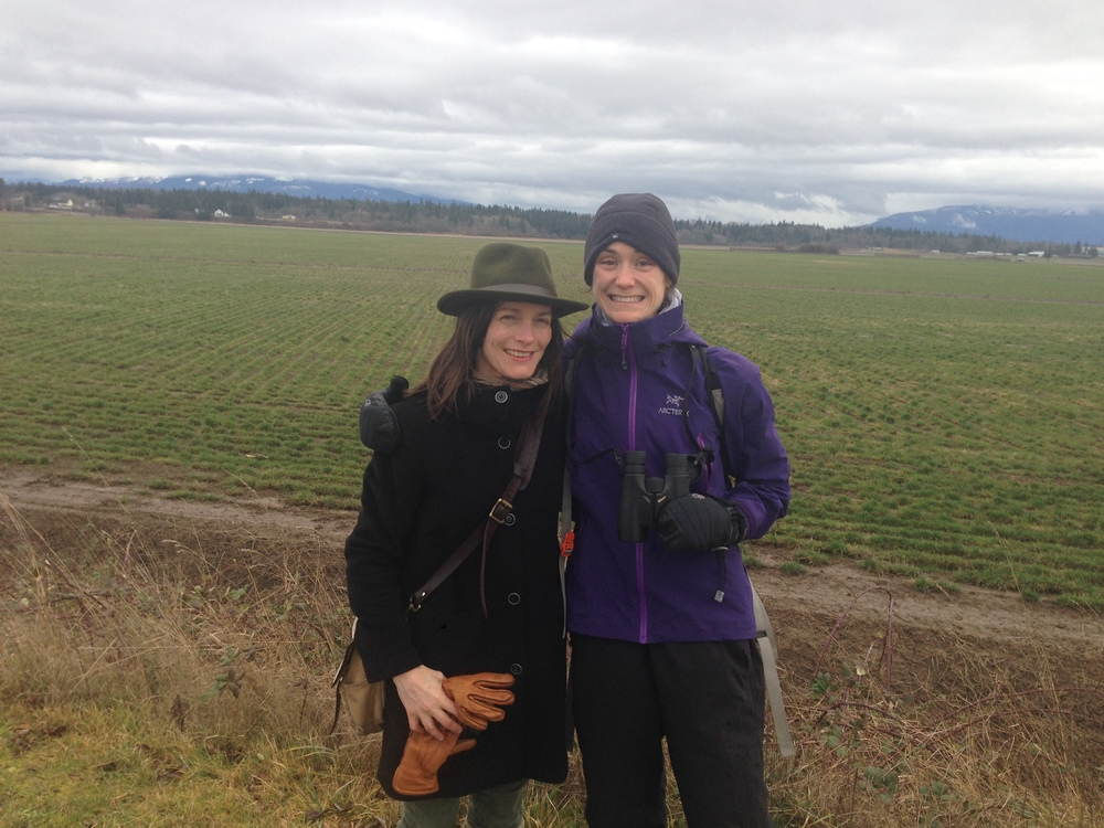 Emily and I braving the cold and wind along the Padilla Bay Dike Walk, Bayview, WA.