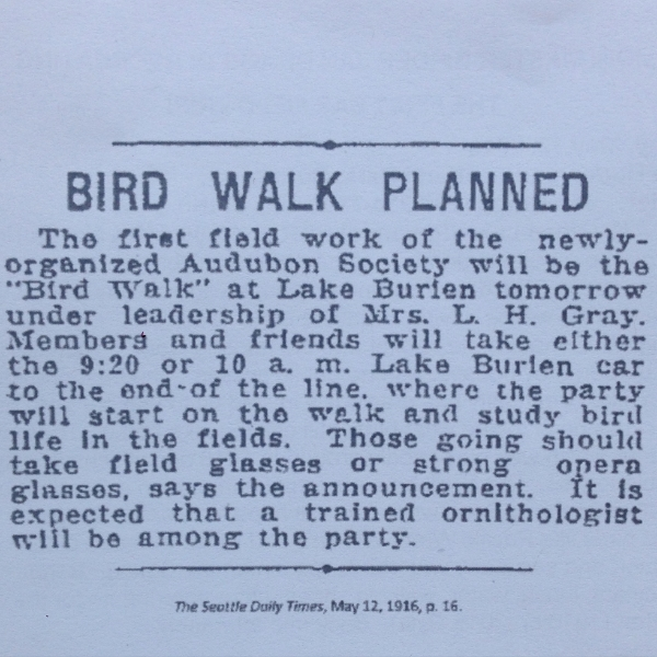 First ever Seattle Audubon public bird walk, as advertised in the Seattle Times, 1916.