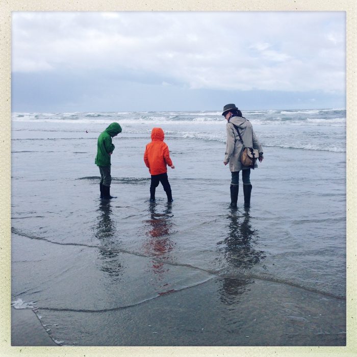 Manzanita Beach with my son and nephew. Not unusual for June to be rainy and mild.