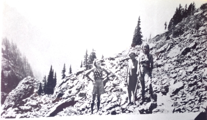 Eleanor with girlfriends near Mt. Gladys, 1934.