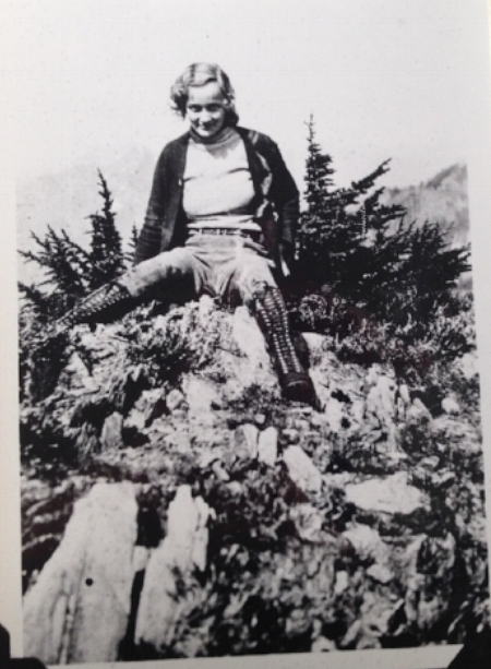 Eleanor Addleman, age 21, near Mt. Gladys in the Olympic National Forest, 1934. Just look at those hiking boots!