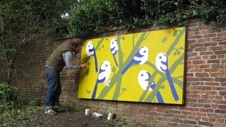 Matt Sewell painting a mural at Castle Garden, Malton, Yorkshire. Image: TheBigBuzz.biz