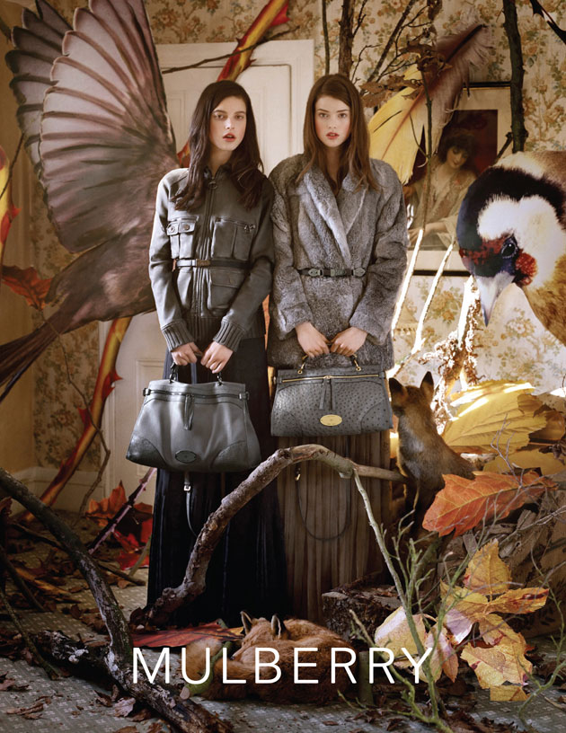 Mulberry F/W 2011. That's a giant European Goldfinch in the background. Image: Tim Walker