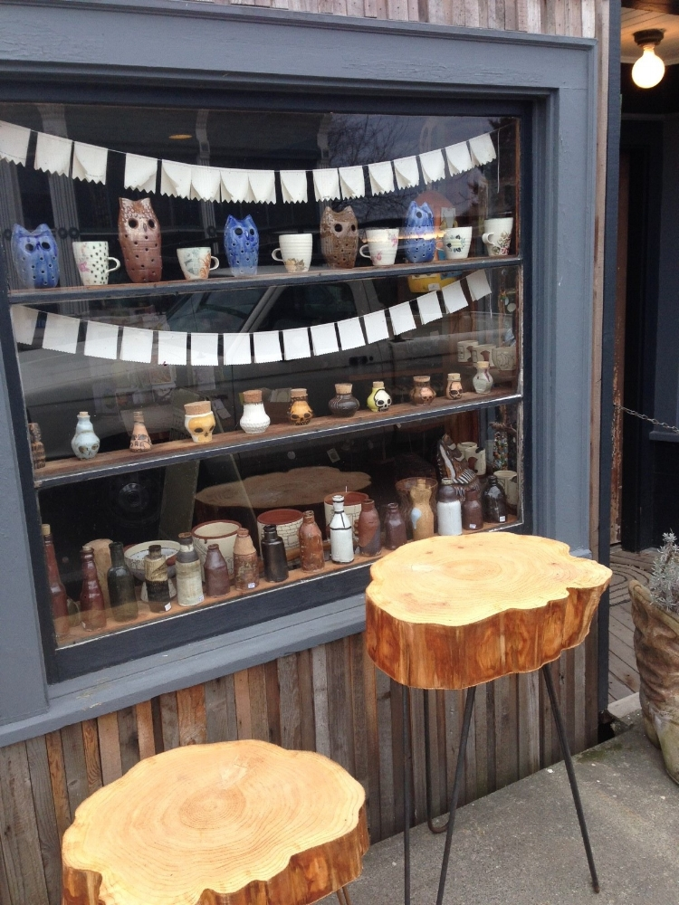 Window display at Edison shop. Owls turned out to be a good omen for the day!