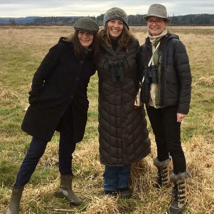 January birding in the Skagit Valley area. L to R me, pal Katie and sis Gilia.
