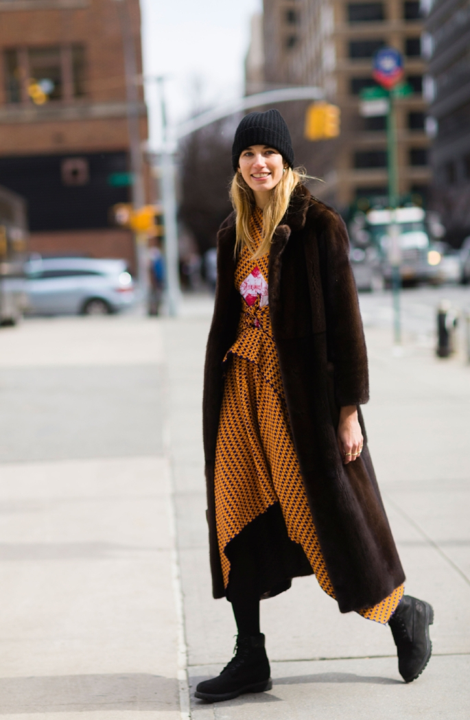 Veronika Heilbrunner, New York Fashion Week. A skirt and warm tights, kinda  Yama Girl ? Image: Nabile Quenum.