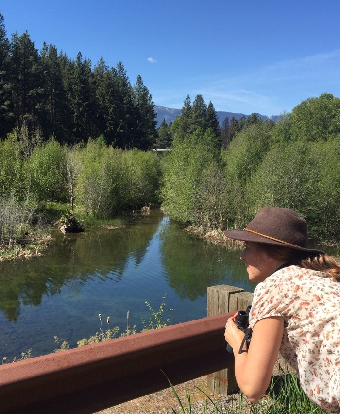 Katie birding at Cle Elum Railroad Ponds (photo by Cambria Cox)