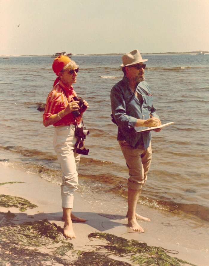 "Virginia ""Ginnie"" and Don Eckelberry, looking mighty stylish while birding, mid-1960s. Photo courtesy of Woodson Art Museum."