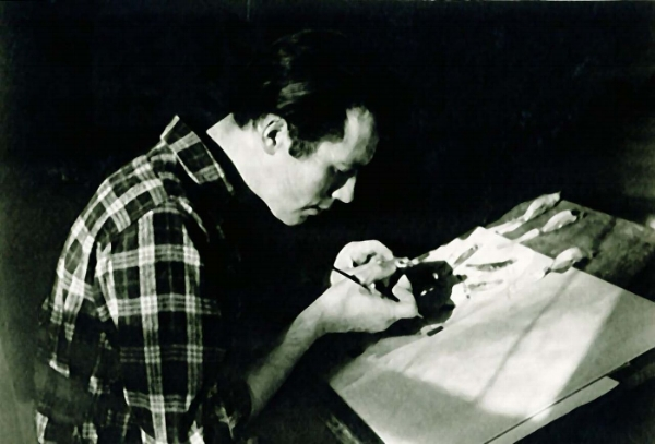 Don with study skin, early 1950s. Photo courtesy of Woodson Art Museum.