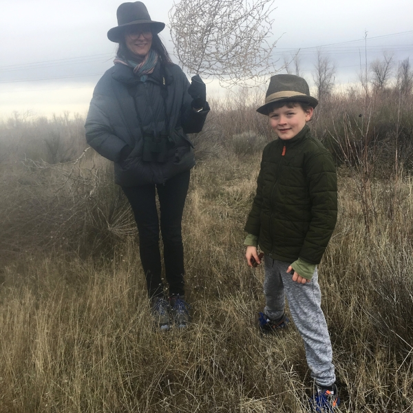 My sister Gilia and my son at the Potholes Nature preserve outside Moses Lake, WA. Shell casings and tumbleweeds added to the interest of the area.