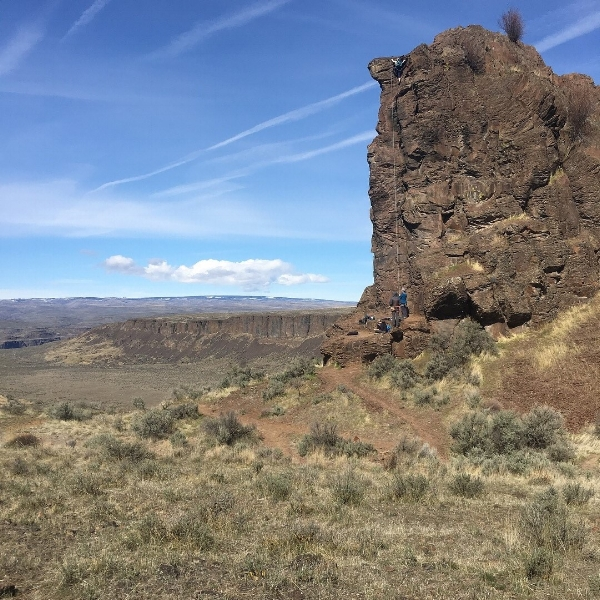 The rock climbing scene at Frenchman;s Coulee outside George, WA.