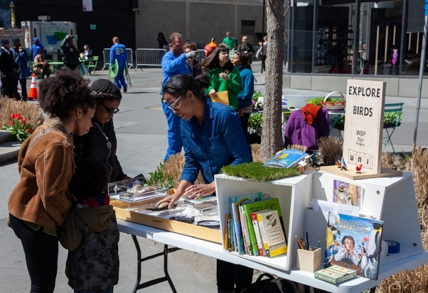 Georgia at an Earth Day event in Brooklyn, April 2018 at the EXPLORE Birds booth. EXPLORE Birds is a partnership between Eco Projects and the Uni Project. Photo credit: The Uni Project.