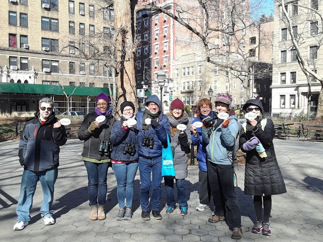The group at WSP for the 2018 Great Backyard Bird Count in February. Georgia is second from left. Photo by Heather Wolf of  The Birds of Brooklyn Bridge.