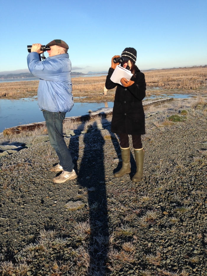 Me and Pop at Port Susan Bay near Stanwood, looking for Bald Eagles, ducks and owls.