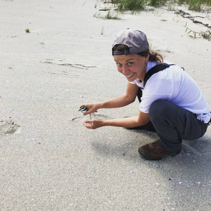 Barnes with a Wilson's Plover, Holly Beach, Louisiana.