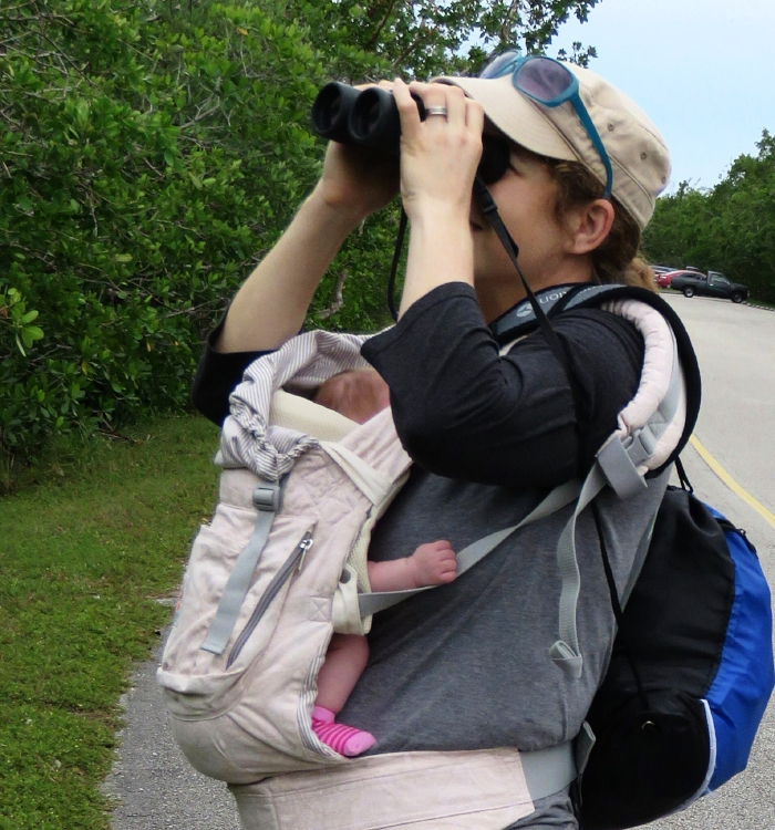 Mariel Abreu and her newborn daughter Luna Jay, on baby's first field trip, Miami, FL, January 2018. Photo by Jennifer Rycenga.