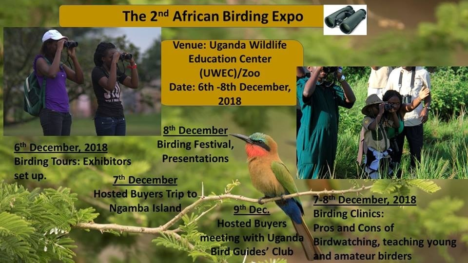 Flyer for the Second Annual African Birding Expo, hosted by Uganda in 2018.