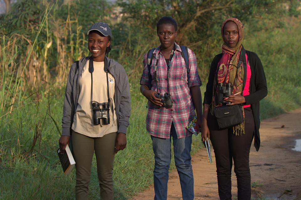 Mirembe with two interns training with Bird Uganda Safaris.