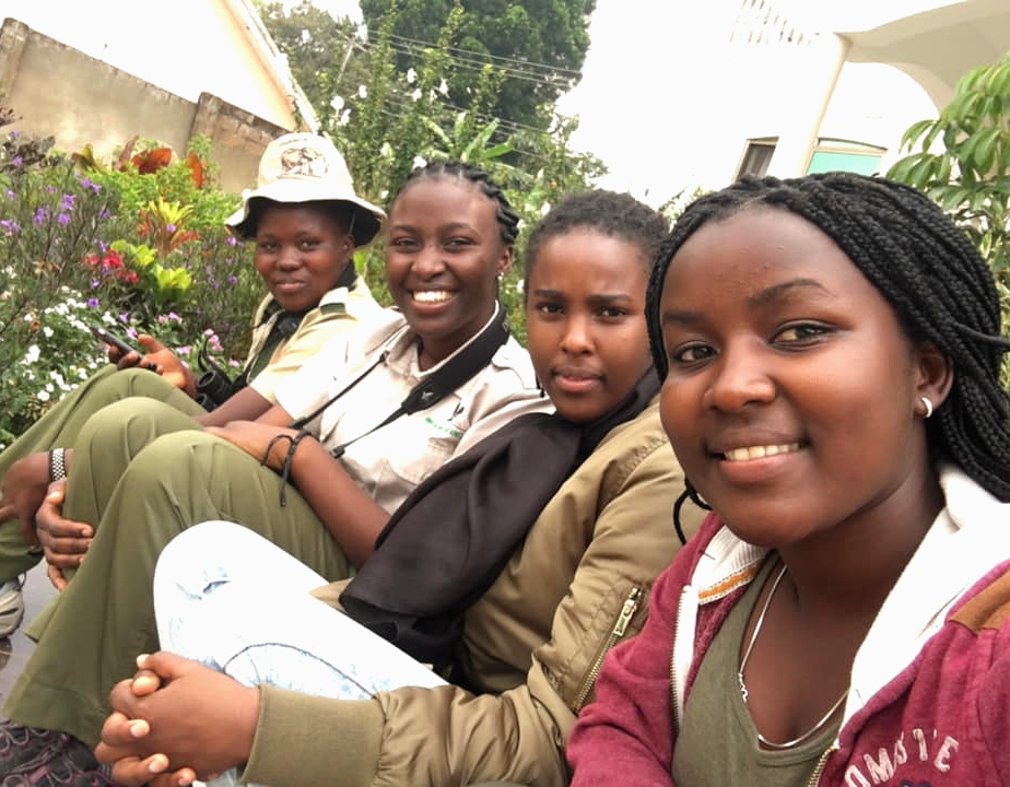 "Prossy Nanyambi, Mirembe, Pamela ""Waxbill"" Giramata Gasana and Jeanisse Nsanga at the African Birding Expo, December 2018. Photo by Jeanisse Nsanga."