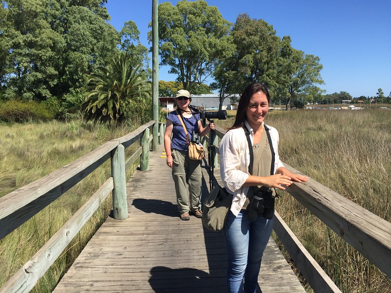 Ocampo with a client in Santa Lucia Wetlands, a Protected Area west of Montevideo, Uruguay.