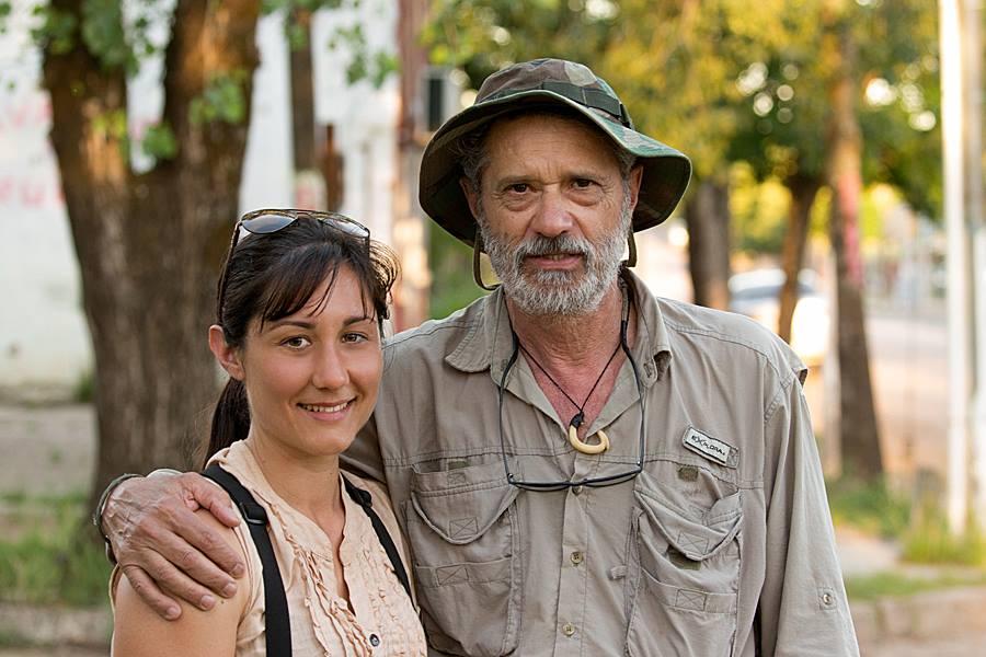 Ocampo and a local guide near the Rincón de Franquía Protected Area.