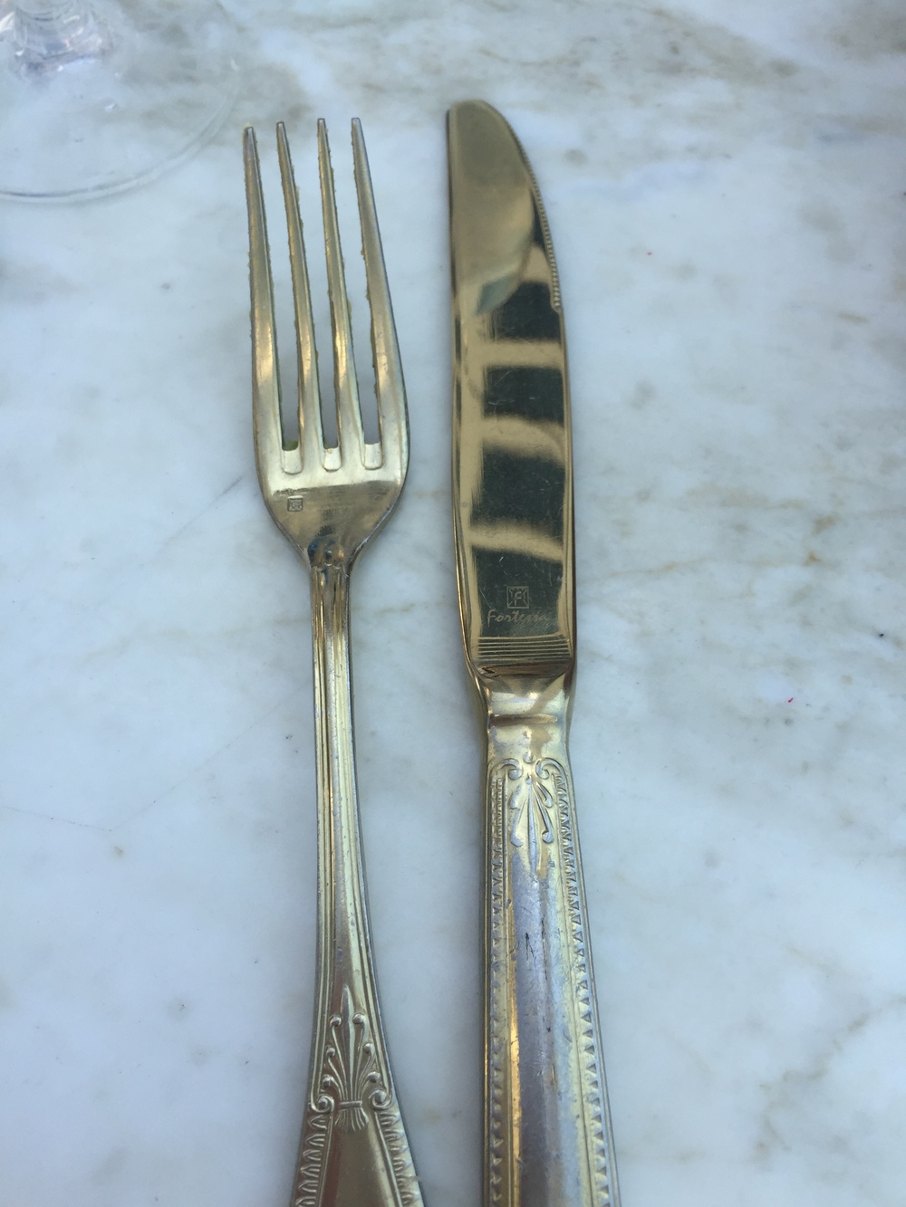 Gold silverware at Ivory on Sunset