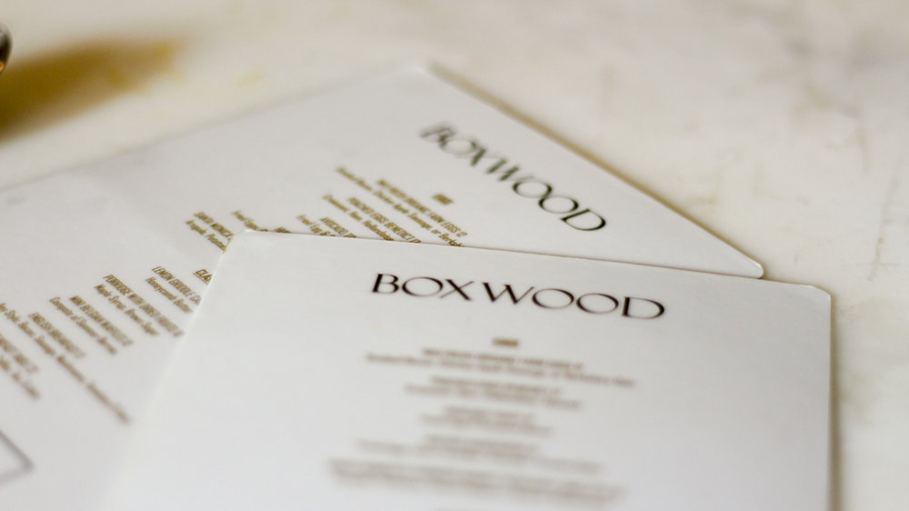 Boxwood at The London menus