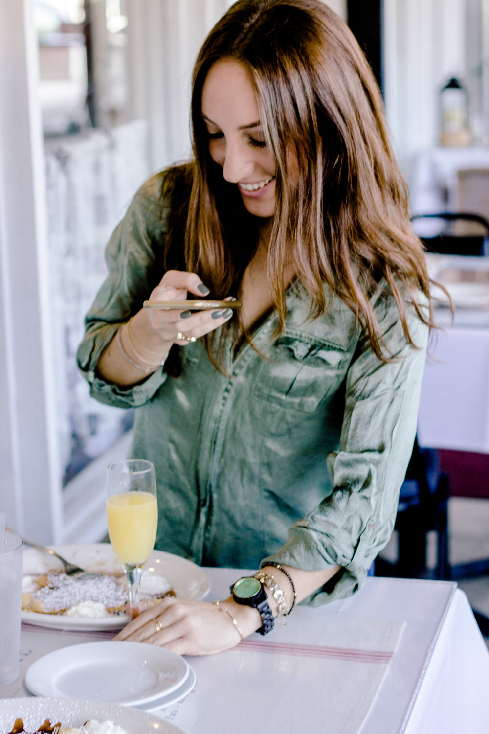 Brielle Galekovic of The Gilded Bellini wearing Frankie 35 series JORD Wood Watches