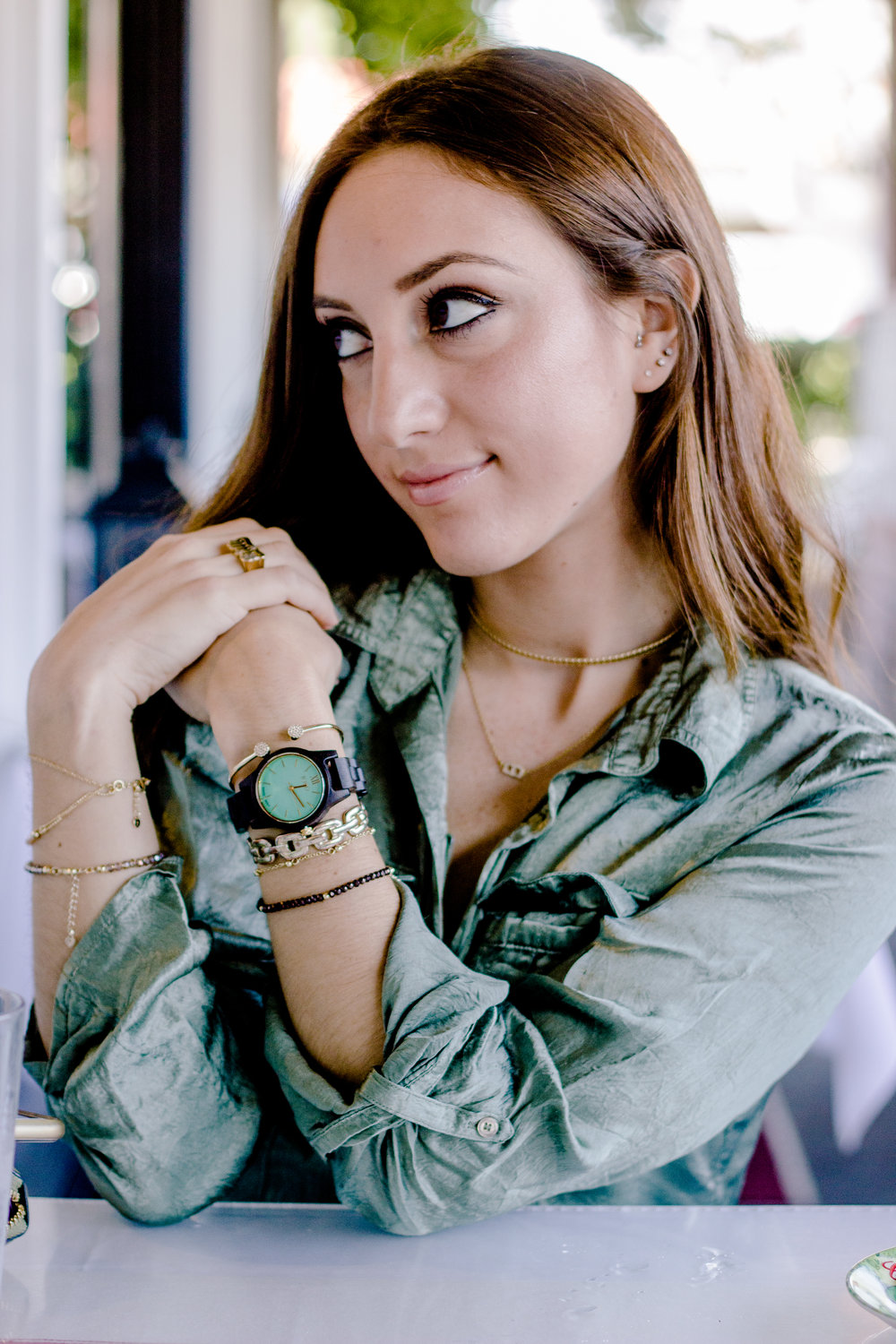 Brielle Galekovic of The Gilded Bellini wearing JORD Wood Watches