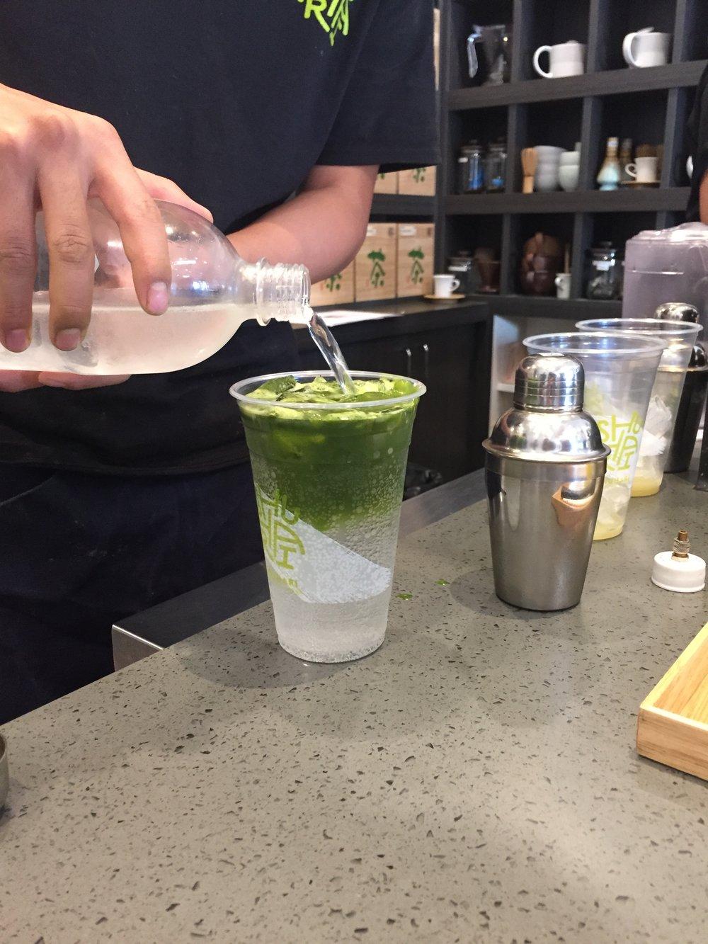 Matcha Sparkler at SHUHARI Matcha Café