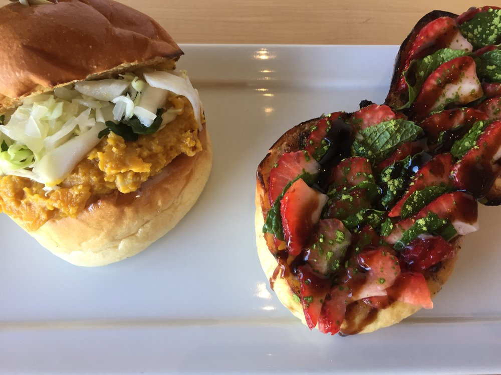 SHUHARI Slider and Strawberry Balsamic Glaze Toasted Bread Roll at SHUHARI Matcha Café