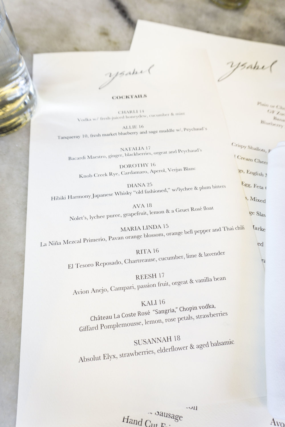 Ysabel West Hollywood Menu