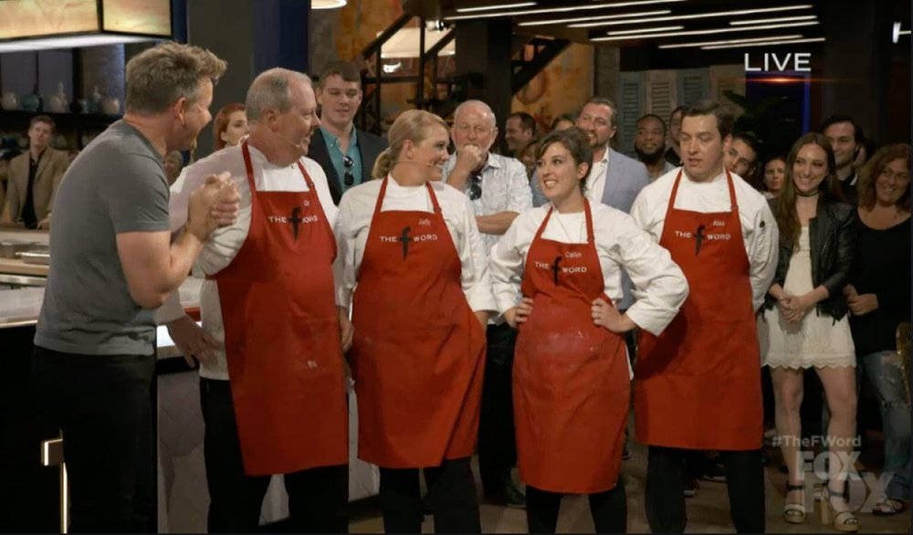 Brielle Galekovic of The Gilded Bellini with Gordon Ramsay on The F Word