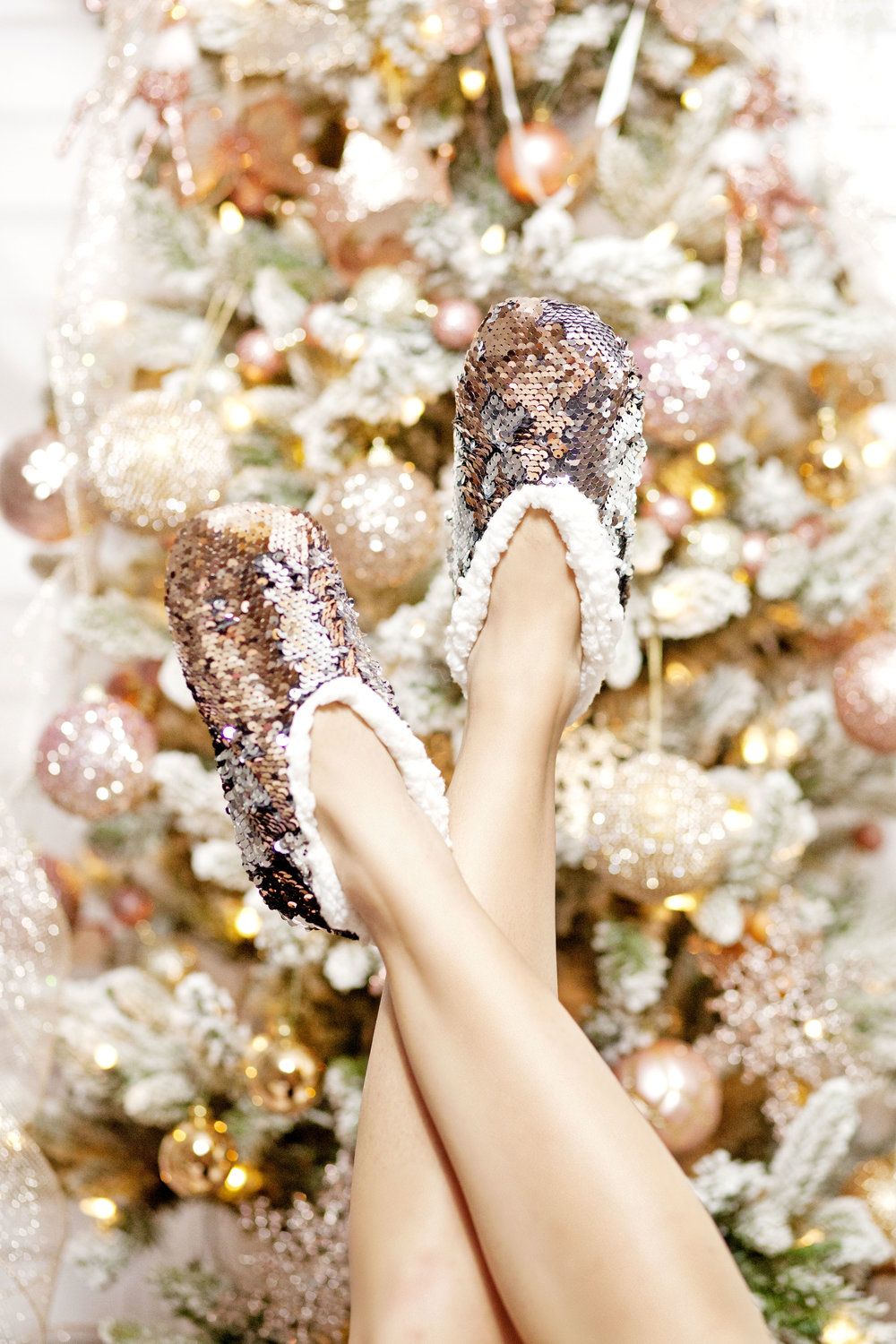 Fuzzy Baba Sequin Slippers - The Gilded Bellini Holiday Gift Guide