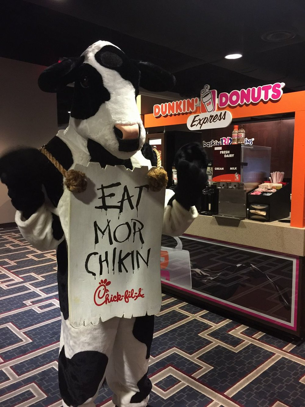 Clients meeting clients! The Carriage Works has built a few different products for Chick-fil-A. We are so glad the cow stopped by for a cup of Dunkin'!