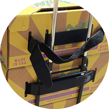 Simple velcro attachement to most wheelie cart