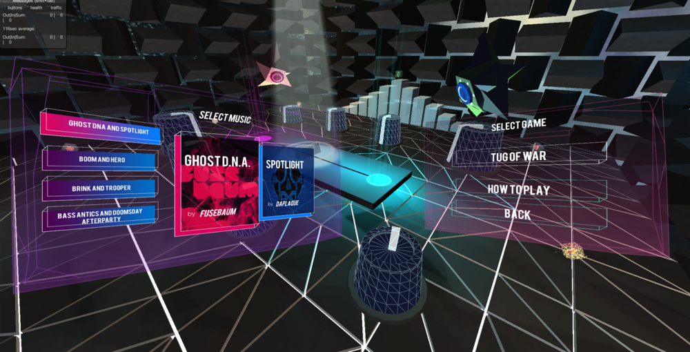 Menu UI design: Each player (Magenta,Cyan) choose a pair of song. Players can listen to two different songs when hovering over left and right of the bar.