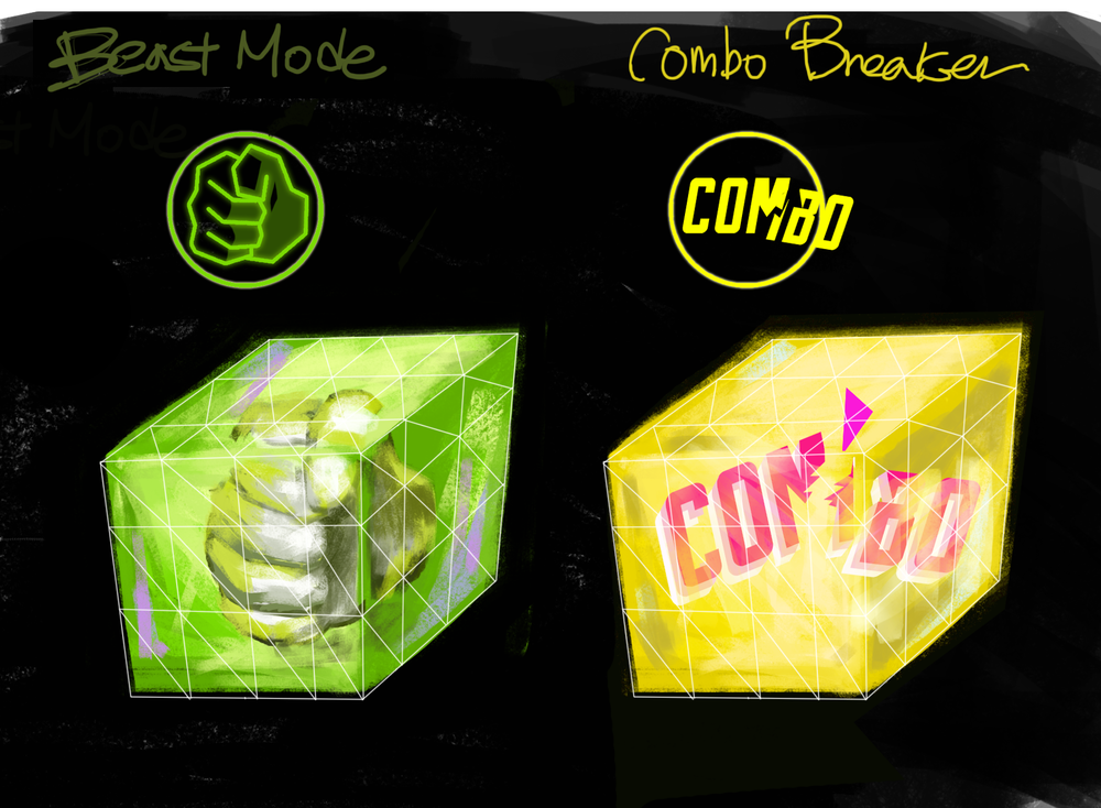 Concept Art for items, Beast Mode and Combo Breaker