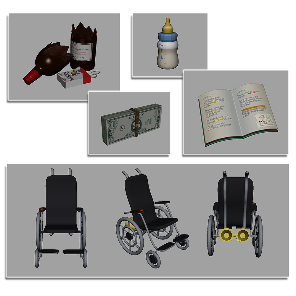 Wine Bottle, cigarette are negative item(obstacle) for adult character,  Milk,Book,Money is positive item for baby, child and adult characters Wheelchair boosts the running speed for senior character. (3D modeling by Kyungik Lee, texture by Yeongmin Won)