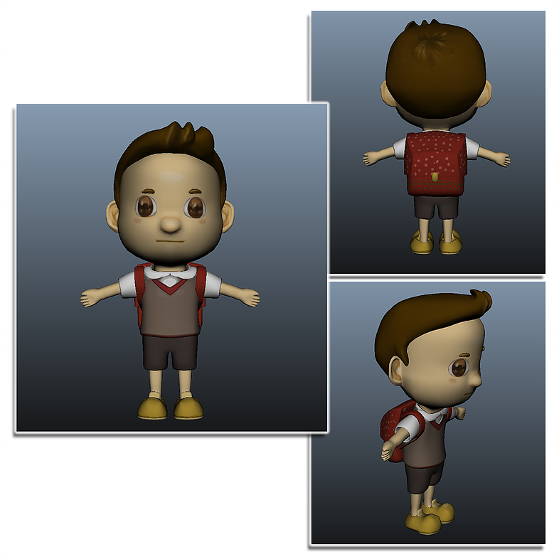 Child character sketch, coloring and 3D modeling
