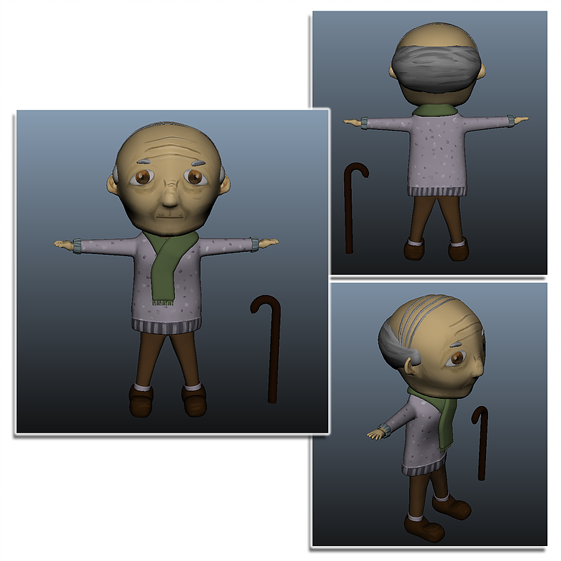 Senior character sketch and 3D modeling