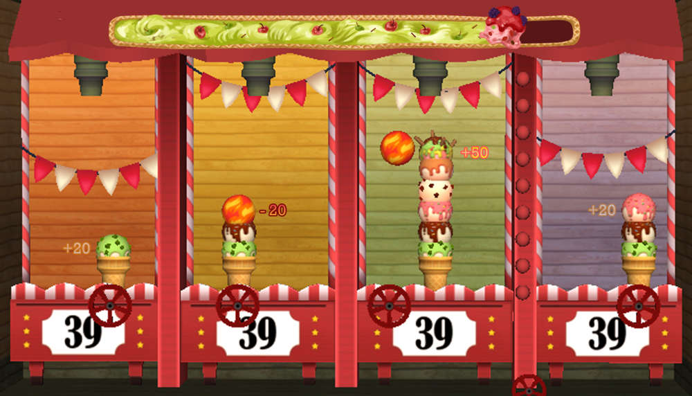 Gameplay screen capture : each players get to stack their ice creams.