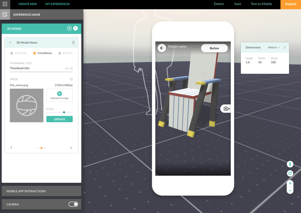 3D Workspace where users can interact and preview their AR experience on the web browser.