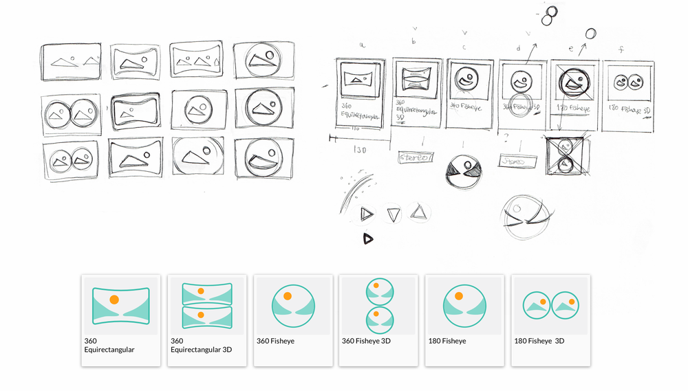 Sketches for video format icons and final assets.