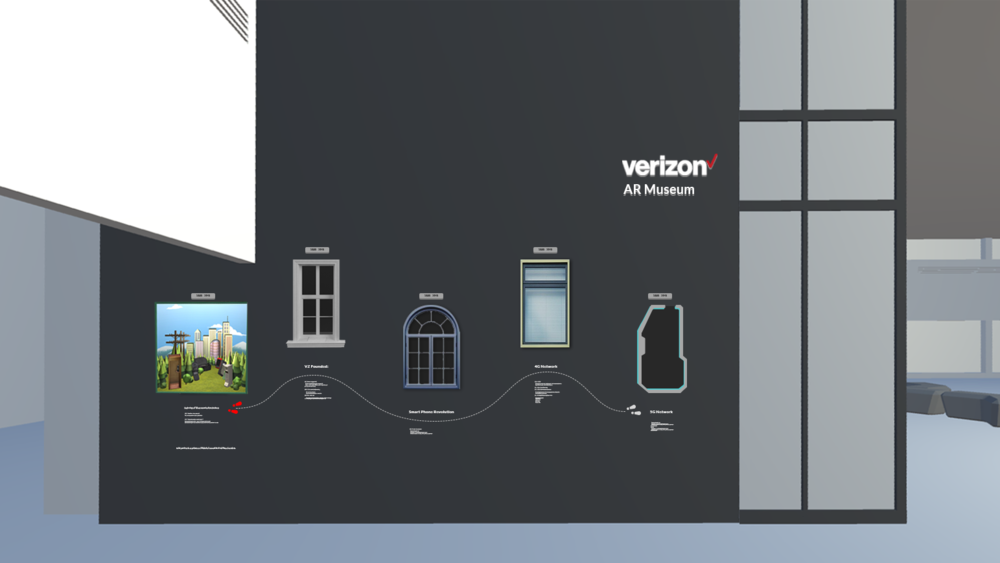 AR Guestbook mock up. Each windows showcase highlights of Verizon's history. Window printout on the wall works as a trigger image that opens up AR diorama which is viewable on a user's mobile phone.