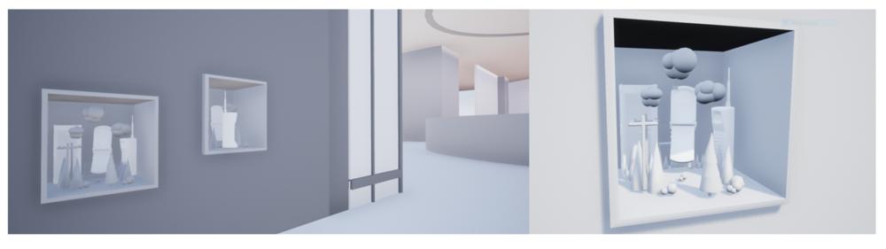 Diorama window mock up. 3D modeling by Jennifer Mendez(diorama) and Yeongmin Elizabeth Won.