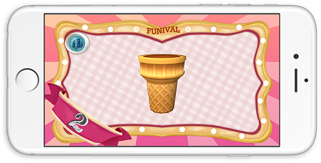 Controller UI: each players have designated number appears on the left hand corner. By tilting their phone, players can move the cone left an right on the screen. The cone on the mobile also moves accordingly.