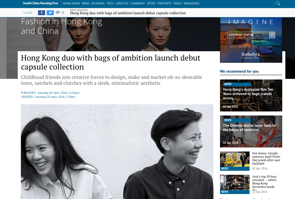 03-04-2016 CAFUNÉ INTERVIEW ON SCMP Co-founders Queenie and Day talk to South China Morning Post about Cafuné,clickthrough to read the article online